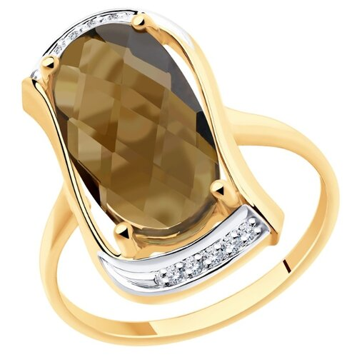 Diamant Кольцо из золота с родированием с раухтопазом и фианитами 51-310-00791-3, размер 19