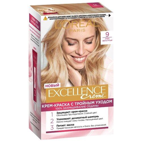 L'Oreal Paris Excellence стойкая крем-краска для волос, 9, Очень светло-русый l oreal paris стойкая крем краска для волос excellence оттенок 9 3 светло русый золотистый
