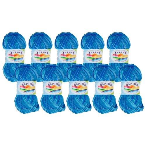 Пряжа Alpina Katrin, 100 % хлопок, 50 г, 140 м, 10 шт., №9018 джинсовый-синий пряжа alpina katrin 100 % хлопок 50 г 140 м 10 шт 155 желтый синий белый салатовый