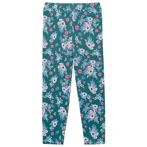 Купить Леггинсы Kogankids 221-325-35 размер 98, зеленый/цветы, Брюки