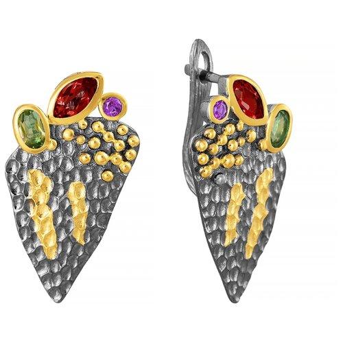 ELEMENT47 Серьги из серебра 925 пробы с гранатами, перидотами и аметистами YE01026_SR_AM_GR_PD_BJ