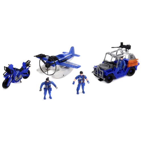 Купить Набор техники Shantou Gepai Rescue Team Полиция 1713702 синий, Машинки и техника