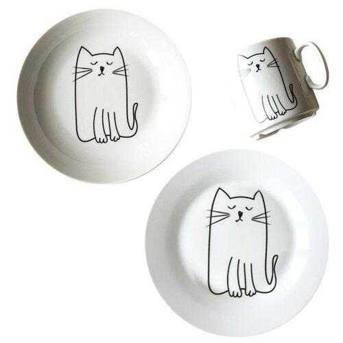 Фото - Набор для завтрака Сотвори Чудо Киска белый/черный тарелка сотвори чудо линия 20 см белый