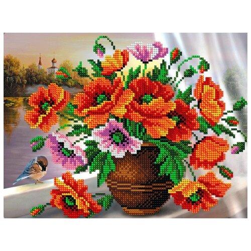 Купить Вышиваем бисером Набор для вышивания бисером Маки в вазе 20 x 25.5 см (В-122), Наборы для вышивания