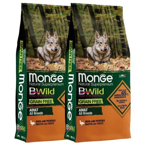 Сухой корм для собак Monge BWILD Feed the Instinct, утка, с картофелем 2шт. х 12 кг