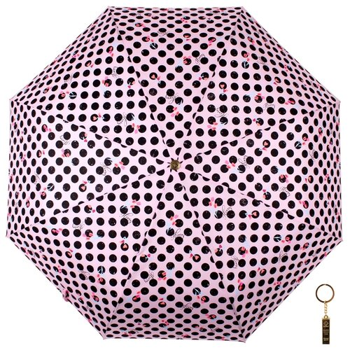 Зонт автомат FLIORAJ Premium Золотой брелок Мелкий горох розовый