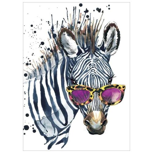 Алмазная вышивка Цветной Зебра в очках, 40x30