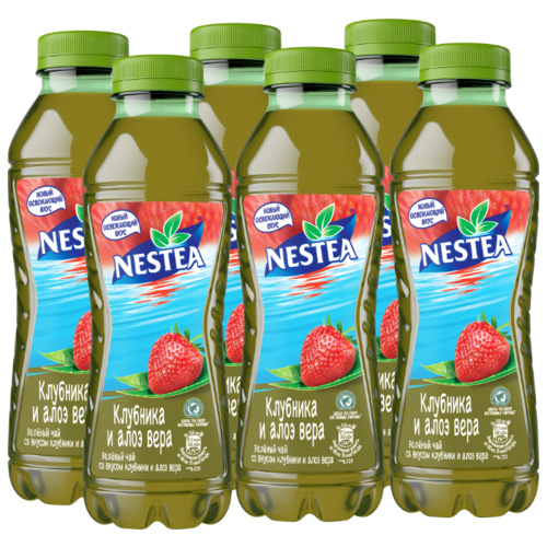 Чай Nestea зеленый со вкусом Клубники и Алоэ вера, 0.5 л, 6 шт.