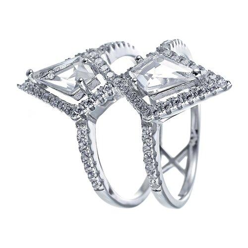 JV Кольцо с стеклом и фианитами из серебра WR25184-R1-US-002-WG, размер 17.5 кольцо из золота юшnone r1