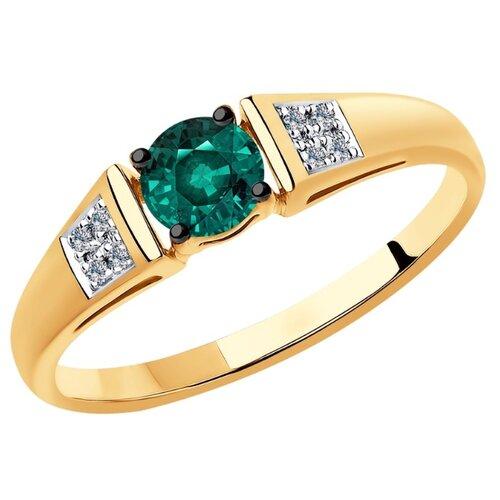 SOKOLOV Кольцо из золота с бриллиантами и гидротермальным изумрудом 6017027, размер 17.5