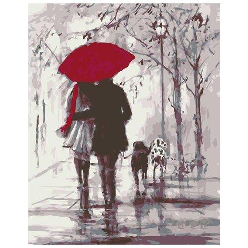 Купить Картина по номерам Живопись по Номерам Двое под зонтом , 40x50 см, Живопись по номерам, Картины по номерам и контурам