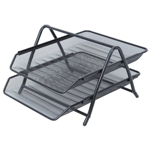 Купить Лоток горизонтальный для бумаги Berlingo Steel&Style BMs_41022 (2 отд.) черный, Лотки для бумаги