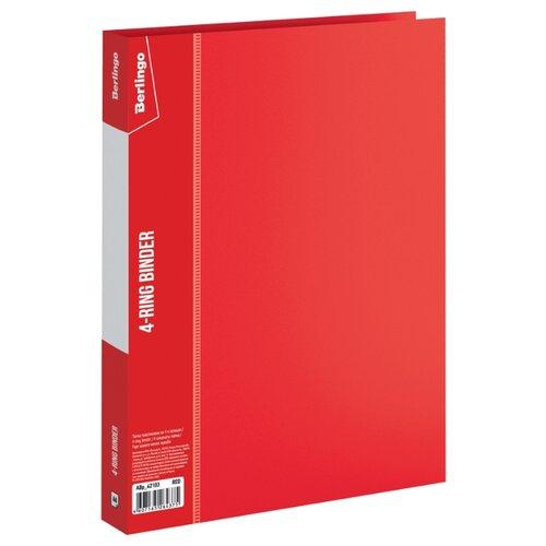 Купить Berlingo Папка на 4-х кольцах Standard А4, 25 мм, пластик красный, Файлы и папки