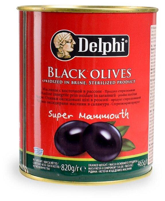 DELPHI Маслины черные с косточкой в рассоле, 820 г