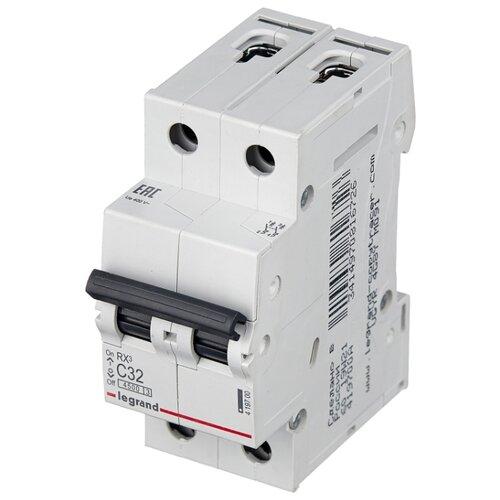 Автоматический выключатель Legrand RX3 2P (C) 4,5kA 32 А legrand выключатель авт 2п c 25а rx3 4 5ка leg 419699