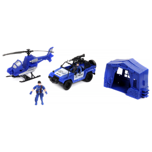 Купить Набор техники Shantou Gepai Rescue Team Полиция 1713704 синий, Машинки и техника