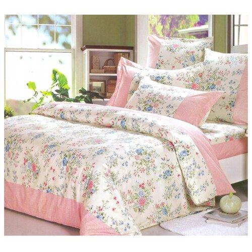Постельное белье 1.5-спальное СайлиД A-158, поплин, 70 х 70 см бежевый/розовый