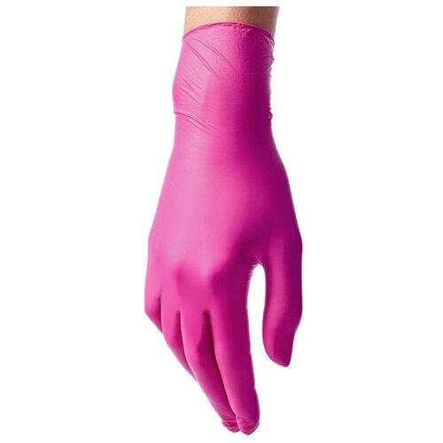 Перчатки Benovy нитриловые одноразовые с текстурой на пальцах, 50 пар, размер L, цвет ярко-розовый