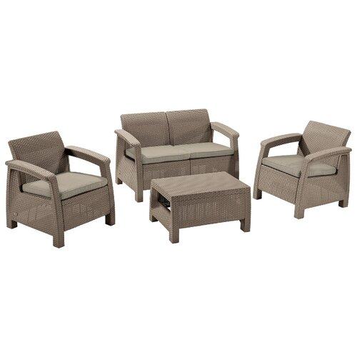 Комплект мебели Allibert Corfu Set (диван, 2 кресла, стол), капучино