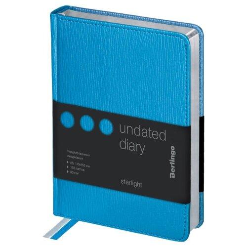 Купить Ежедневник Berlingo Starlight недатированный, искусственная кожа, А6, 160 листов, голубой, Ежедневники, записные книжки