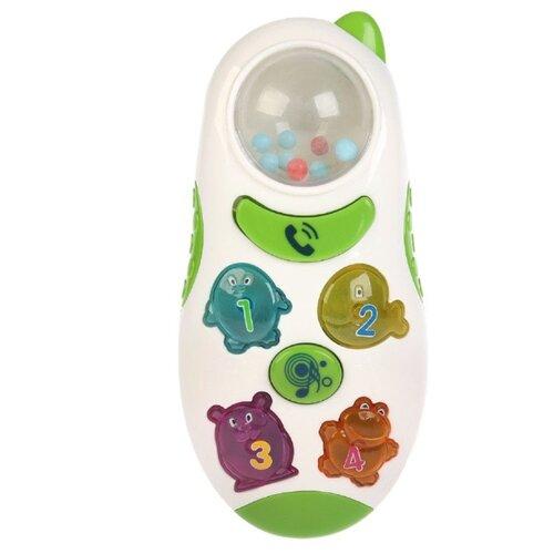 Фото - Развивающая игрушка Умка Телефон-погремушка белый/зеленый развивающая игрушка погремушка лягушка с шариками умка