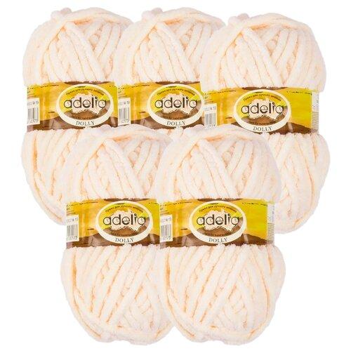 Купить Пряжа Adelia Dolly однотонная, 100 % полиэстер, 100 г, 40 м, 5 шт., №19 сливочный