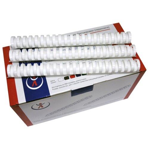 Пружина пластиковая для переплета, 51 мм, для сшивания 435-500 листов, белая, 50 шт, РеалИСТ