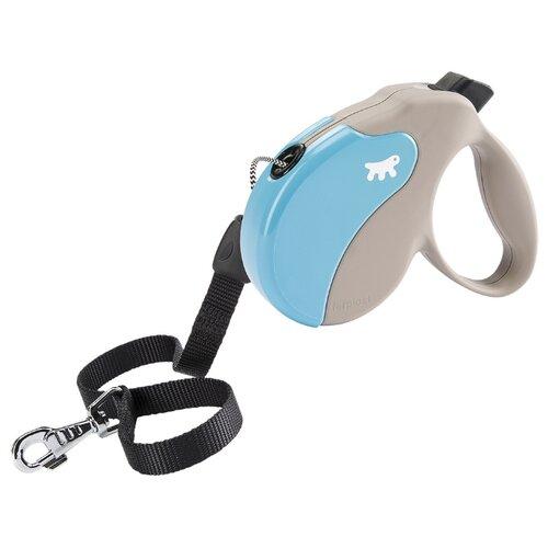 Поводок-рулетка для собак Ferplast Amigo cord L бежевый/голубой 5 м поводок рулетка для собак ferplast amigo tape s серый 5 м