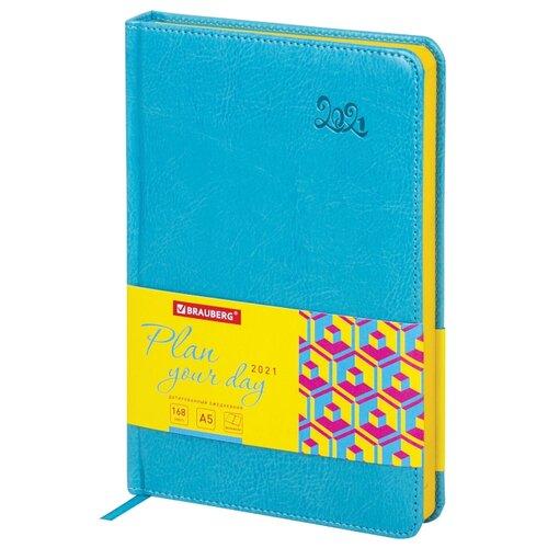 Купить Ежедневник BRAUBERG Rainbow датированный на 2021 год, искусственная кожа, А5, 168 листов, бирюзовый, Ежедневники, записные книжки