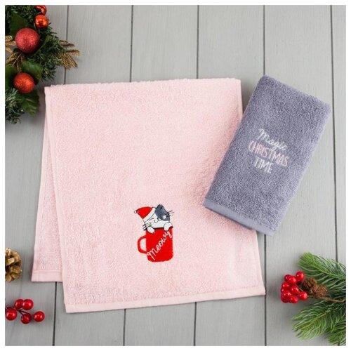 Этель набор полотенец Christmas time розовый/серый
