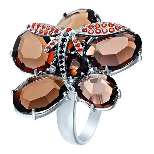 ELEMENT47 Кольцо из серебра 925 пробы с раухтопазами и кубическим цирконием KR1413_KO_SQ_001_WG, размер 16.75