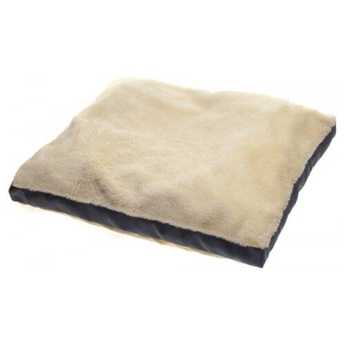 Лежак для кошек, для собак Уси Муси из искусственного меха кролика 7PET00114/7PET00115 58х48х10 см бежевый/серый