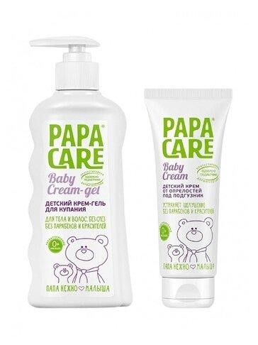 Papa Care Комплект Детский крем-гель для купания + Детский крем под подгузник, 350 мл