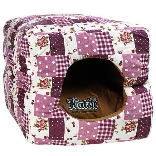 Домик для собак и кошек Katsu Patchwork S 30х30х16 см лиловый