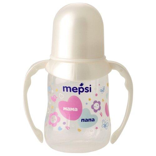 Купить Бутылочка для кормления с ручками с силиконовой соской Mepsi, 125 мл, 4+ мес., Бутылочки и ниблеры