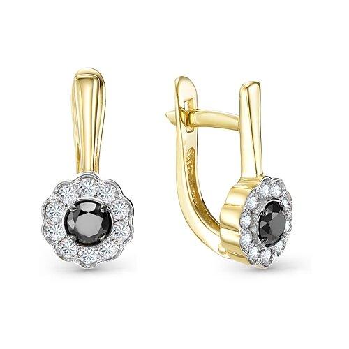 Мастер Бриллиант Золотые серьги с бриллиантом, черным бриллиантом 2-106-808