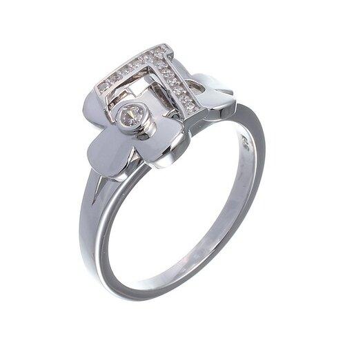 ELEMENT47 Кольцо из серебра 925 пробы с кубическим цирконием KR200R_001_WG, размер 18