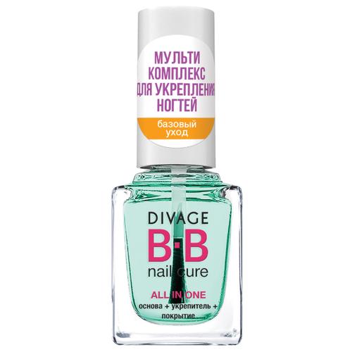 DIVAGE базовое и верхнее покрытие BB Nail Cure All in One укрепляющее 12 мл прозрачный зеленый