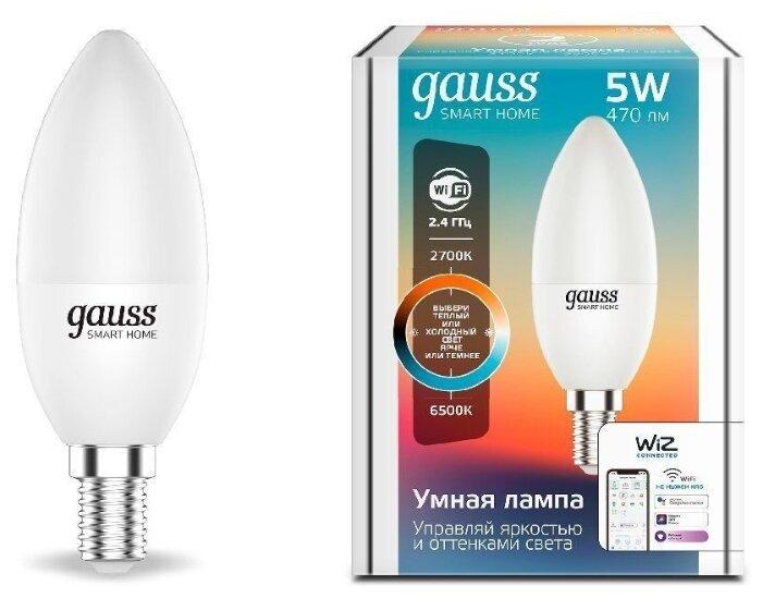 Лампа светодиодная gauss 1110112, E14, C37, 5Вт фото 1