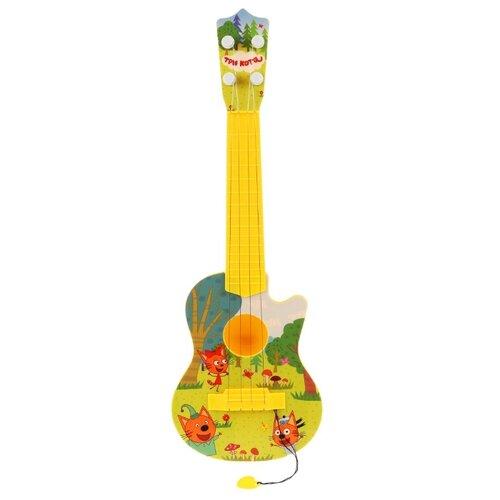 Купить Играем вместе гитара Три кота 1907M008-R желтый, Детские музыкальные инструменты