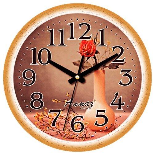 Часы настенные кварцевые Алмаз E38 коричневый/бежевый часы настенные кварцевые алмаз c25 розовый бежевый