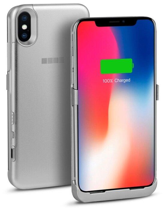Чехол-аккумулятор INTERSTEP Metal battery case для iPhone X silver