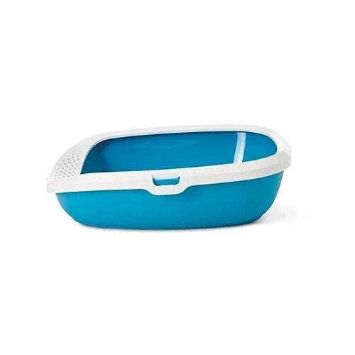 Туалет-лоток для кошек SAVIC Gizmo M 44х35.5х12.5 см голубой/белый