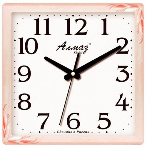 Часы настенные кварцевые Алмаз M45 бежевый/белый часы настенные кварцевые алмаз c04 c10 бежевый с рисунком белый