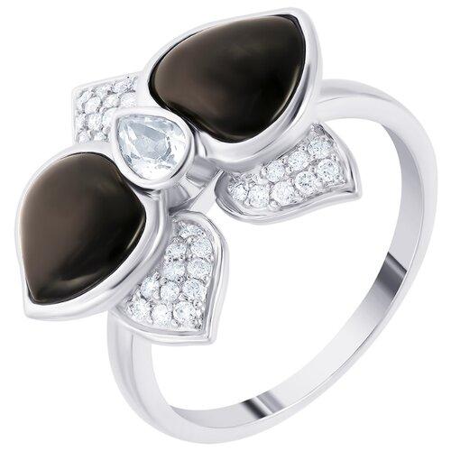 Фото - JV дубль Кольцо из золота с бриллиантами и топазами R43458A014W001-OX-WG, размер 17 jv кольцо с ониксами и фианитами из серебра pr150002b ox 001 wg размер 17