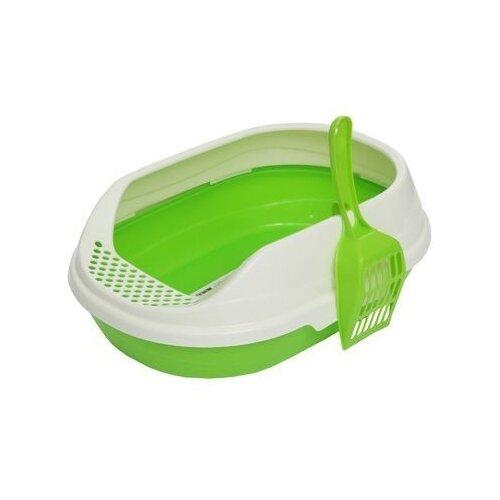 Туалет-лоток для кошек Homecat 65112/65113/65114 52х38х17 см зеленый 1 шт.