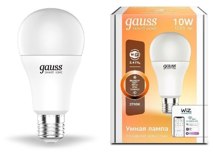 Лампа светодиодная gauss 1070112, E27, A60, 10Вт фото 1