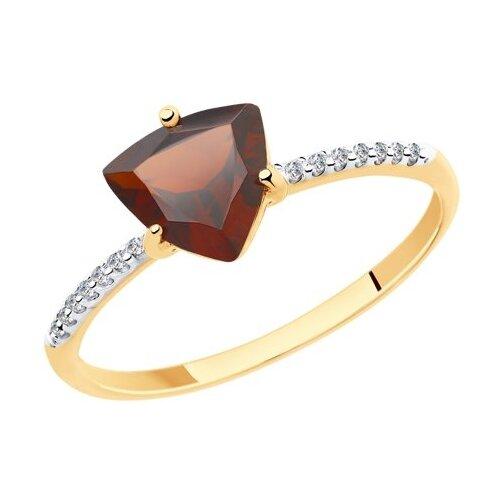 Diamant Кольцо из золота с гранатом и фианитами 51-310-00291-2, размер 17 diamant кольцо из золота с гранатом 51 310 00182 2 размер 17