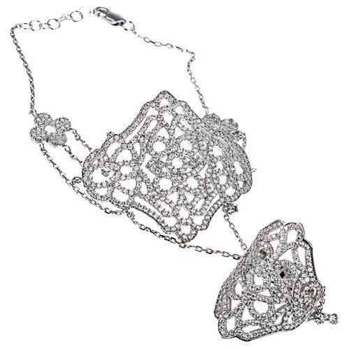 ELEMENT47 Кольцо-браслет из серебра 925 пробы с кубическим цирконием KTB0013-30_BT_001_WG, размер 17