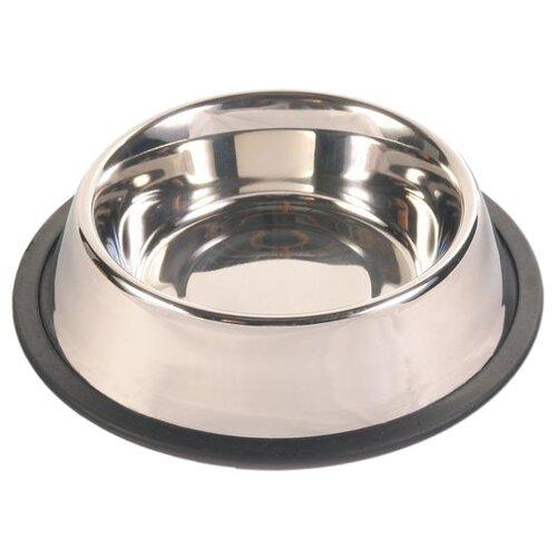 Миска TRIXIE 24852 с резинкой для собак 700 мл серебристый